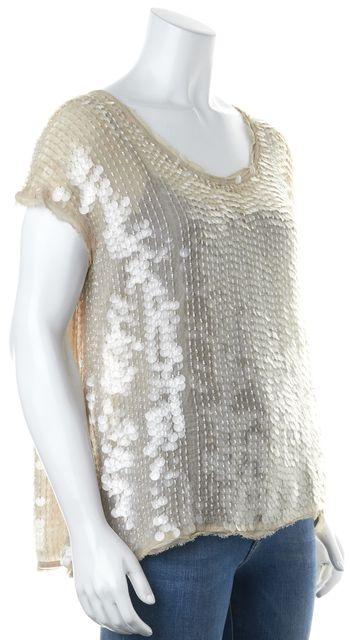 ALLSAINTS Beige Hand Embellished Clear Sequins Progression Top Blouse