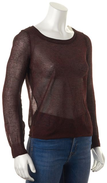 ALLSAINTS Maroon Red Galaxy Crew Long Sleeve Sheer Knit Top