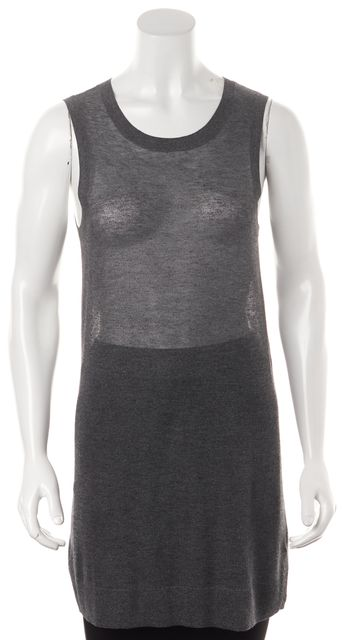 ALLSAINTS Gray Metallic Knit Sleeveless Dari Tank Long Tunic Top