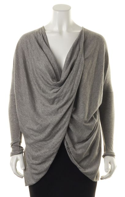 ALLSAINTS Gray Itat Shrug V-Neck Gathered Drape Sweater