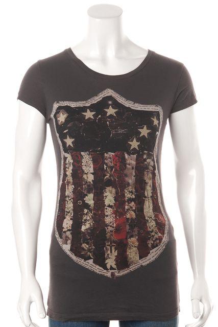 ALLSAINTS Gray Graphic Shields Cap Sleeve Basic T-Shirt