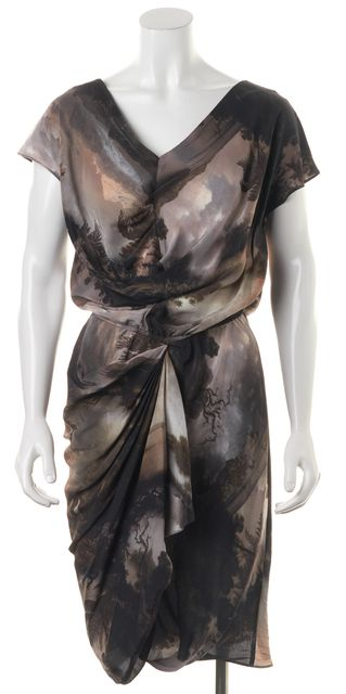 ALLSAINTS Gray Brown Tree Print Silk Nirvana Nada Blouson Dress