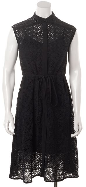 ALLSAINTS Black Eyelet Glesni Drawstring Waist Shirt Dress