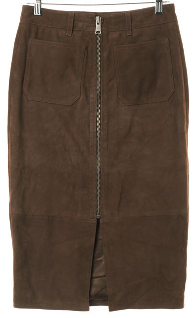 ALLSAINTS Brown Suede Leather Arel Zip Front Pencil Skirt