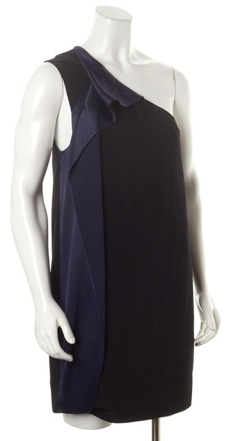 ALLSAINTS Black Blue Japanese Cloth One Shoulder Elaina Shift Dress