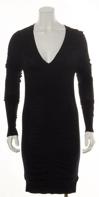 ALLSAINTS Black Wool Adorabella Jumper V-Neck Sweater Dress