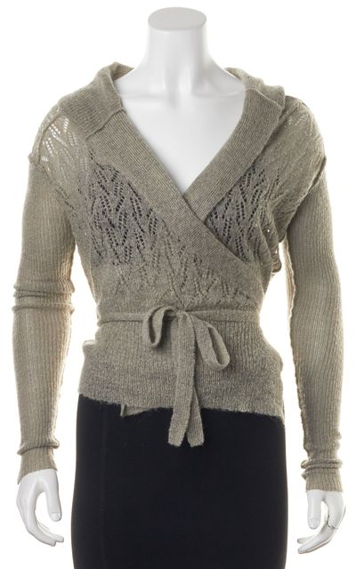 ALLSAINTS Gray Wrap Long Sleeve Perforated Cardigan