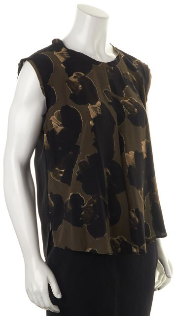 ALLSAINTS Black Olive Green Abstract Silk Dissolve Novah Top Blouse