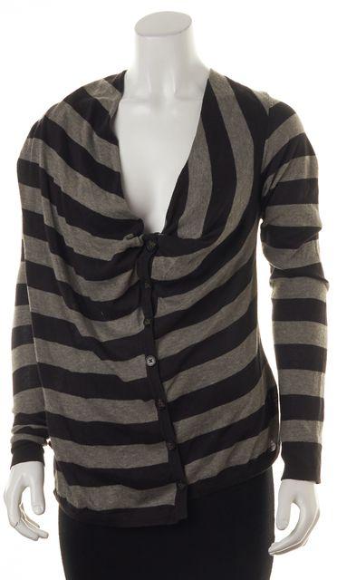 ALLSAINTS Black Gray Striped Asymmetrical Cardigan