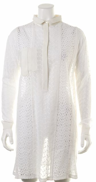 ALLSAINTS White Semi-Sheer Floral Embroidered Button Down Shirt Top