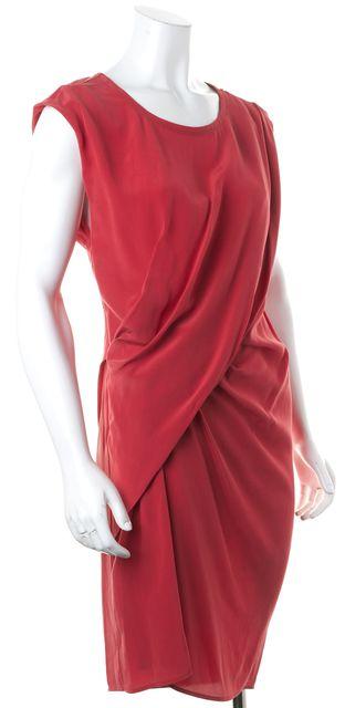 ALLSAINTS Crimson Red Silk Draped Ayla Sheath Dress