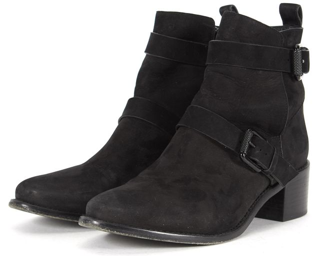 ALLSAINTS Black Suede Block Heeled Ankle Boots