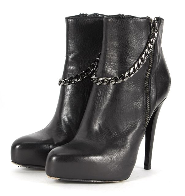 ALLSAINTS Black Chain Embellished Leather Platform Ankle Boots