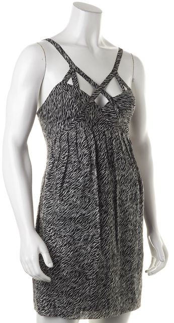 ALLSAINTS Black White Abstract Soiree Dress Fit & Flare Dress