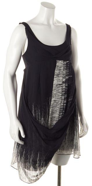 ALLSAINTS Black Gray Abstract Silk Empire Waist Dress