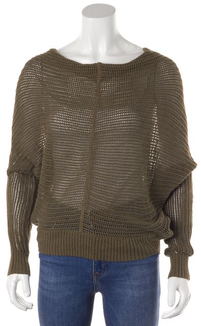 ALLSAINTS Green Long Sleeve Buttoned Back Cotton Knit Top