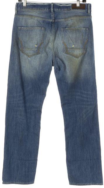 ALLSAINTS Blue Distressed Cotton Denim Hauraki Boyfriend Jean