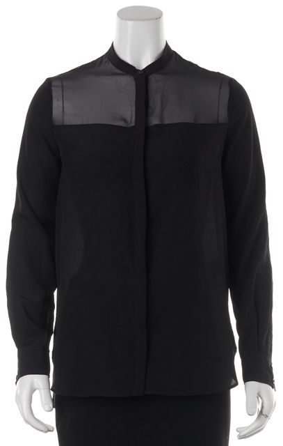 ALLSAINTS Black Semi-Sheer Blouse Top