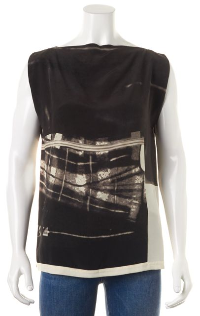 ALLSAINTS Black Ivory Abstract Silk Lucie Resonate Blouse Top