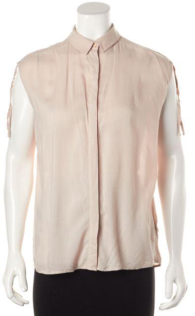 ALLSAINTS Beige Drain Shirt Button Front Sleeveless Blouse Top
