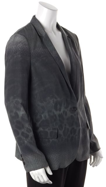 ALLSAINTS Green Silk Animal Print Blazer Jacket US 10 UK 14
