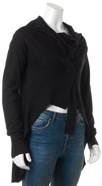 ALLSAINTS Black Wool High-Low Escape Cardigan Sweater