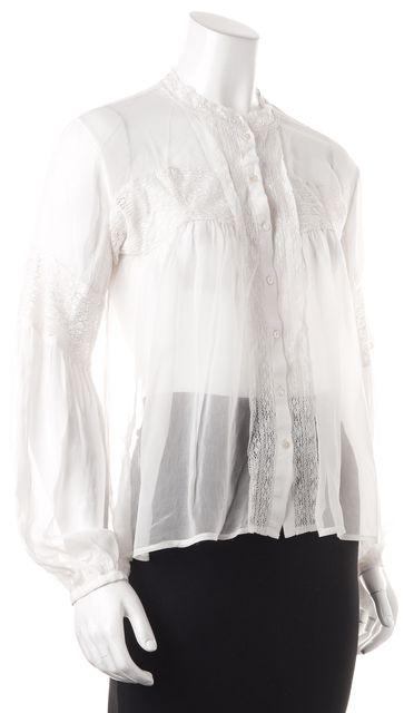 ALLSAINTS White Crochet Sheer Long Sleeve Button Down Shirt Blouse