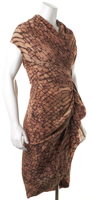 ALLSAINTS Brown Cap Sleeve Knee-Length Animal Print Silk Wrap Dress