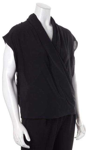 ALLSAINTS Solid Black Crepe Silk Cap Sleeve Blouse