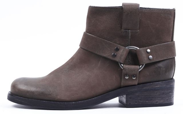 ALLSAINTS Chocolate Brown Leather Obert Moto Ankle Boots