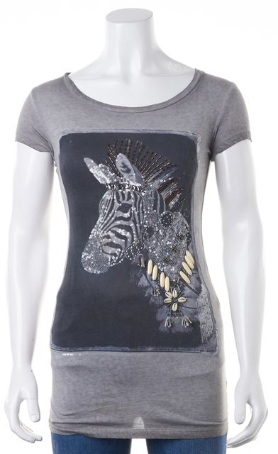 ALLSAINTS Gray Graphic X Thesus Tee Graphic Sequin Embellished T-Shirt