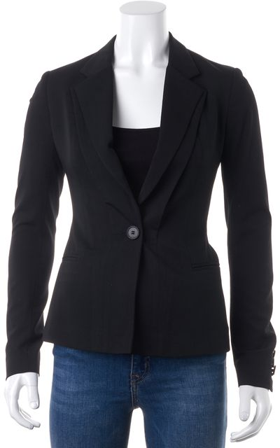 ALLSAINTS Black One Button Double Lapel Dress Blazer