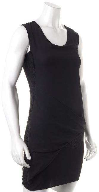 ALLSAINTS Black Lace Trim Draped Safia Sheath Dress