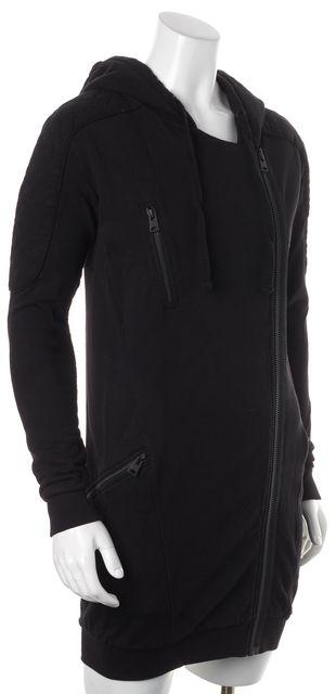 ALLSAINTS Black Quilted Shoulder Trim Ridley Hooded Sweater