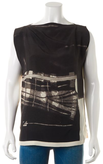 ALLSAINTS Black Beige Abstract Silk Lucie Resonate Blouse Top
