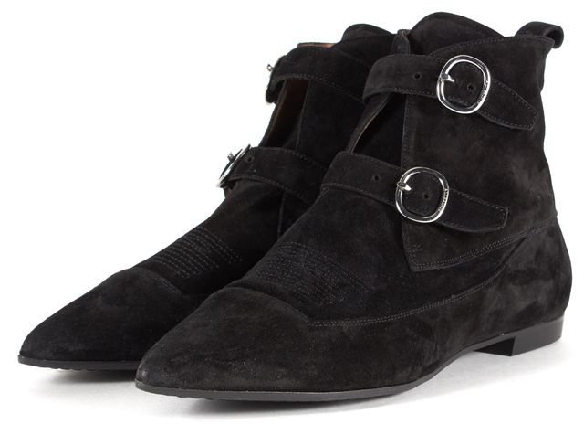 ALLSAINTS Black Suede Pointed Toe Flat Ankle Boots