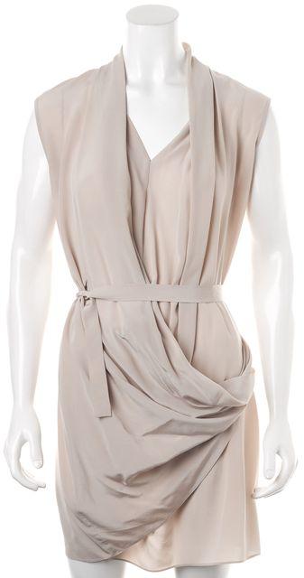 ALLSAINTS Beige Sleeveless Above Knee Silk Wrap Dress