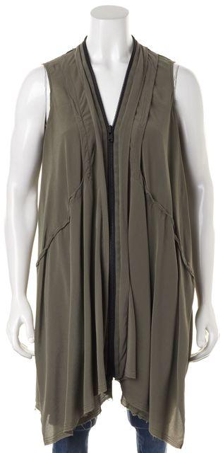 ALLSAINTS Olive Green Black Silk Zip Up Raw Hem Lewis Li Shift Dress