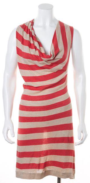ALLSAINTS Orange Beige Striped Sleeveless Cotton Knit Shift Dress