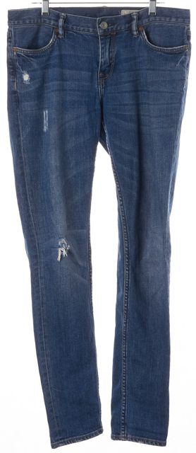 ALLSAINTS Blue Ashby Low Rise Distressed Skinny Jeans