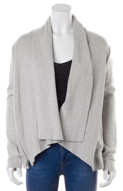 ALLSAINTS Gray Side Zip Trim Lucia Sweatshirt Open Cardigan Sweater