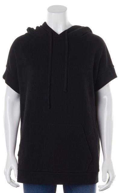 ALLSAINTS Black Cotton Short Sleeve Jean Hooded Sweater
