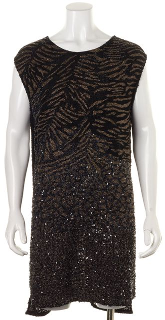 ALLSAINTS Black Copper Silver Embellished Shia Tee Dress Size UK 14 US 10