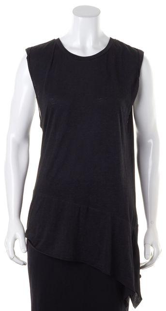 ALLSAINTS Black Heather Jersey Sleeveless Asymmetrical Hem Tee T-Shirt Top