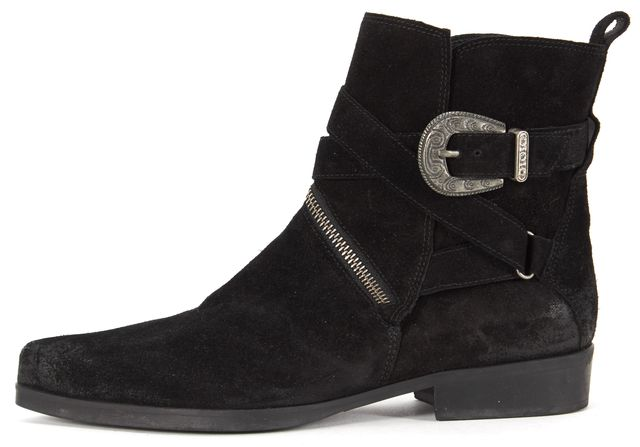 ALLSAINTS Black Suede Pointed Toe Cuban Western Ankle Boots