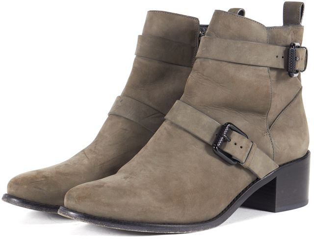 ALLSAINTS Gray Suede Cony Block Heeled Ankle Boots