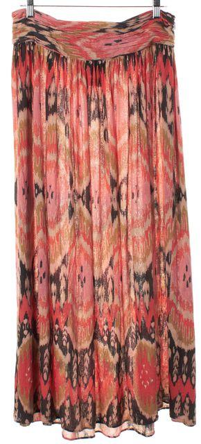 ALLSAINTS Pink Multi-color Abstract Print Silk Alba Full Skirt