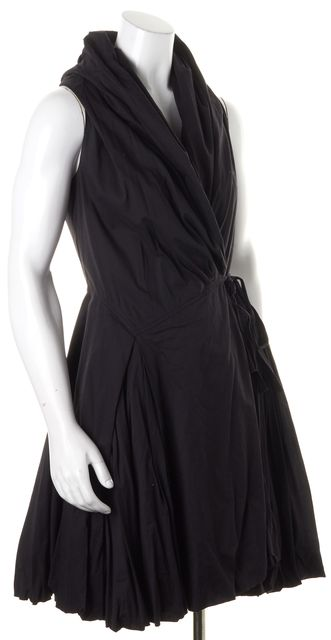 ALLSAINTS Black Sleeveless Fit Flare Bubble Hem Aditya Wrap Dress