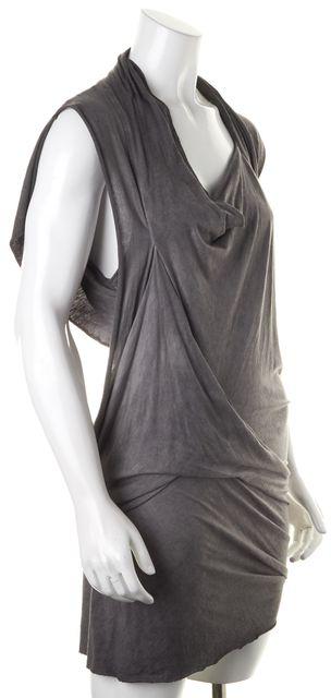 ALLSAINTS Gray Jersey Draped Neck Mini Asymmetrical Hem Sedna Dress