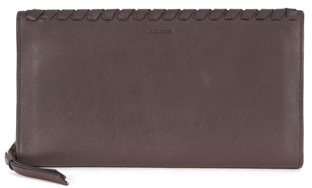 ALLSAINTS Brown Braided Leather Zip Around Kita Wallet